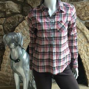 prAna Plaid Popover Long Sleeve Top